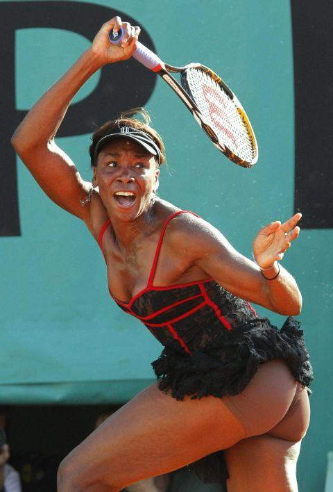 """<p><strong>VENUS WILLIAMS, 2010</strong><p><p> Venus Williams designed the black lace tennis dress she wore when she defeated Patty Schnyder while distracting everyone else with her revealing attire. Williams wore flesh-colored boy shorts underneath, which scandalized the public even more, but that was all part of the plan. """"Like, you can wear lace, but what's the point of wearing lace when there's just black under?"""" she said. The illusion of just having bare skin is definitely, for me, a lot more beautiful."""