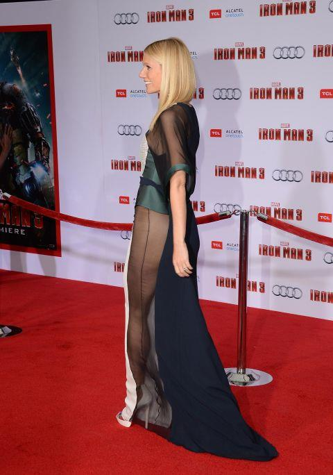 """<p><strong>GWYNETH PALTROW, 2013</strong><p><p> The sheer side panels on Gwyneth Paltrow's Antonio Berardi gown exposed quite a lot of leg (and a hint of side crotch), and got her a lot of attention because of it. But it might be what she said about the experience after the fact that made the dress more interesting. """"I kind of had a disaster. I was doing a show and I changed there and I went and I couldn't wear underwear. I don't think I can tell this story on TV,"""" Paltrow said on The Ellen DeGeneres Show. """"Well, let's just say everyone went scrambling for a razor. ... I work a '70s vibe — you know what I mean?"""""""