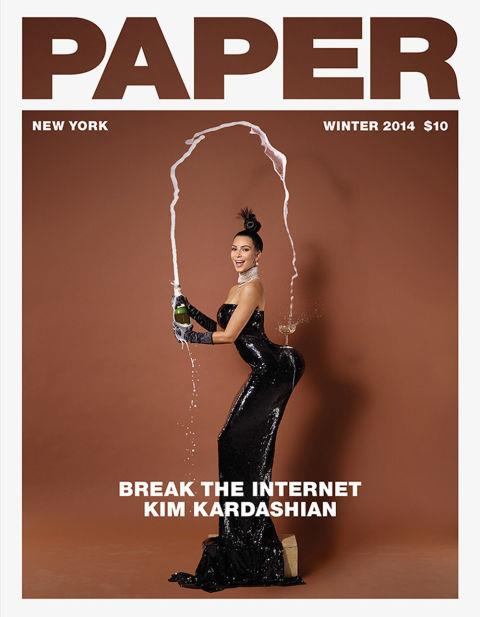 """<p><strong>KIM KARDASHIAN, 2014</strong><p><p> When Kim Kardashian broke the internet with her Paper magazine cover shot by Jean-Paul Goude in 2014, she wore a glittering black strapless dress that was custom-made for the shoot. The cover image above is a reference to another one of Goude's famous photographs: Carolina Beaumont, New York, 1976. Many saw racism in the inspiration image, but it wasn't enough to subdue the positive hysteria that resulted from the shoot, which featured Kim in various stages of undress. According to the magazine's editorial director Mickey Boardman, """"It was her idea to take off her clothes and show more than her butt. We didn't say, 'Let's do a cover with your butt hanging out.' She said she was willing to take her clothes off, and one thing led to another ... history in the making."""""""