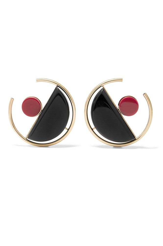 "<a href=""https://www.net-a-porter.com/au/en/product/645796/marni/gold-plated-acrylic-earrings"">Earrings, $410, Marni at net-a-porter.com</a>"