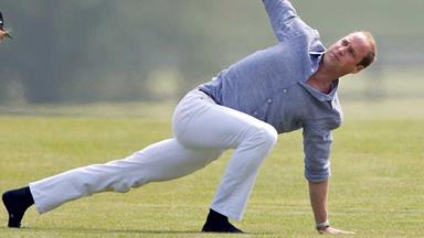 Here Are Some Pictures Of Prince William Doing Yoga In White Jeans