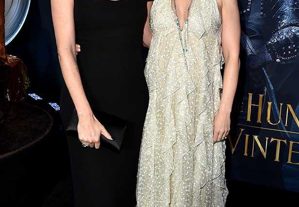Actors Emily Blunt and Charlize Theron at the premiere of Snow White and the Huntsman