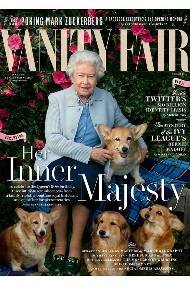 HRH Queen Elizabeth II poses with corgis Holly, Willow, Vulcan, and Candy for a portrait shot by Annie Leibovitz for Vanity Fair