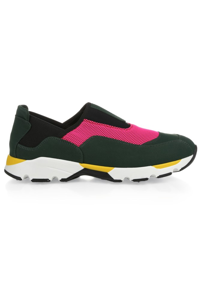 "<strong>Colour pop</strong><br><br> <a href=""http://www.matchesfashion.com/au/products/Marni-Colour-block-slip-on-trainers-1035176"">Trainers, $516, Marni</a>"