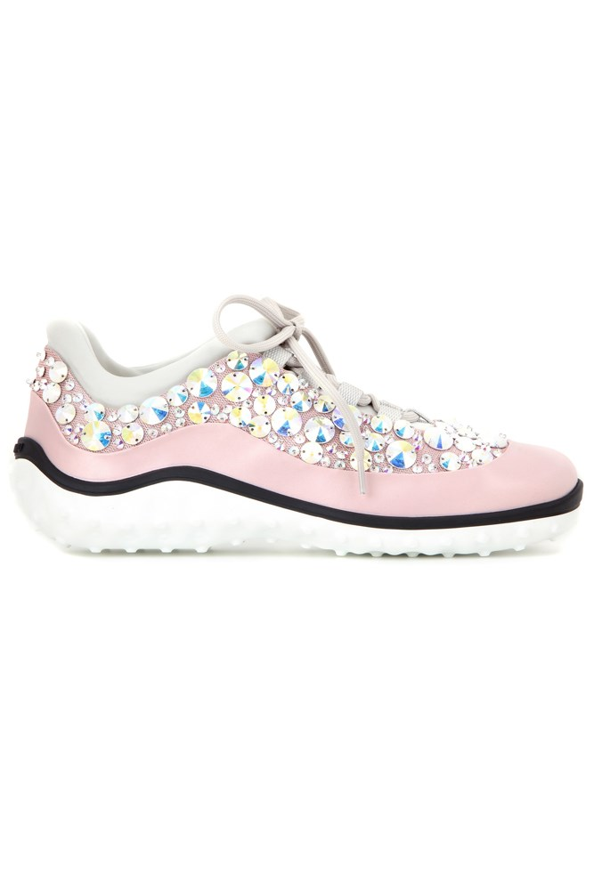 "<strong>All that glitters</strong><br><br> <a href=""http://www.mytheresa.com/en-au/astro-running-embellished-sneakers-553780.html?catref=category"">Sneakers, $2030, Miu Miu</a>"