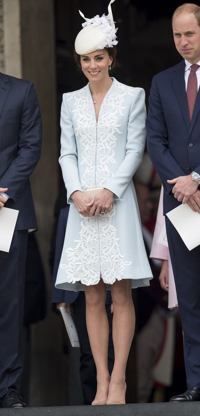 Kate Middleton broke some royal rules in this ice blue number. While Kate used to always wear a shorter skirt, the Queen enacted a longer hemline rule a few years ago. Thankfully, the queen didn't seem to mind this slight transgression from Kate (and why would she when Kate looks so chic here).