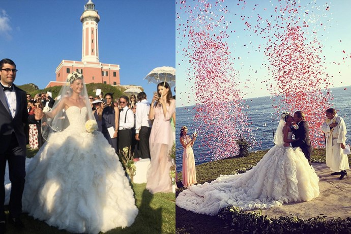 "The fashion set flew out to the Italian isle of Capris to celebrate the nuptials of fashion stylist and street style siren Giovanna Battaglia and Swedish realtor Oscar Englebert, and its taken Instagram by storm. The bride wore an extravagant Alexander McQueen gown complete with embellished corset and long statement train on the big day, and a white Alaïa frock with a fun feather skirt for the rehearsal dinner the night before. If their wedding day hashtag #gioandoscar has shown us anything, it's that we want to live la dolce vita just like them. <br><br> Images: <a href=""https://www.instagram.com/p/BGe_bzRlNJF/"">@fashiononrock</a> and <a href=""https://www.instagram.com/p/BGfwIlTDnIC/"">@derekblasberg</a>"