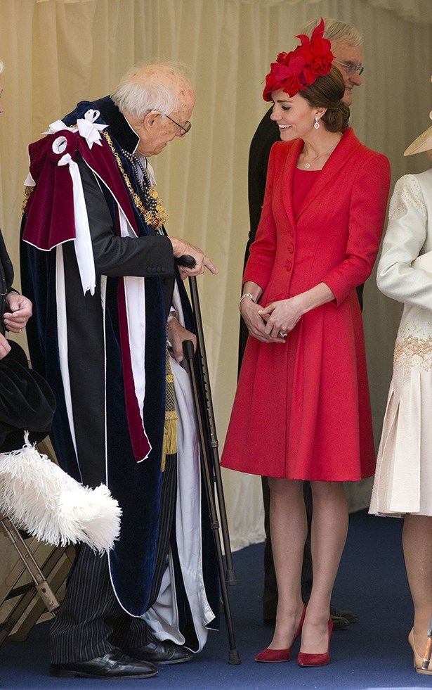 Kate went all over red in this ensemble today to attend the Order of the Garter service in Windsor.