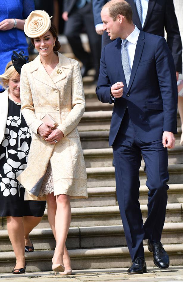 Kate Middleton used the Secretary of State for Northern Ireland's garden party as the opportunity to wear the world's chicest cinnamon scroll as a hat. The Duchess continued her monochrome-streak by pairing her hat with a beige lace coatdress, nude heels and a nude clutch.