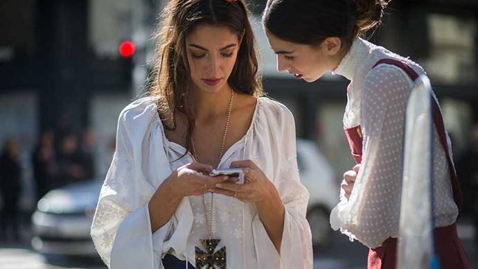 Two women at Milan Fashion Week