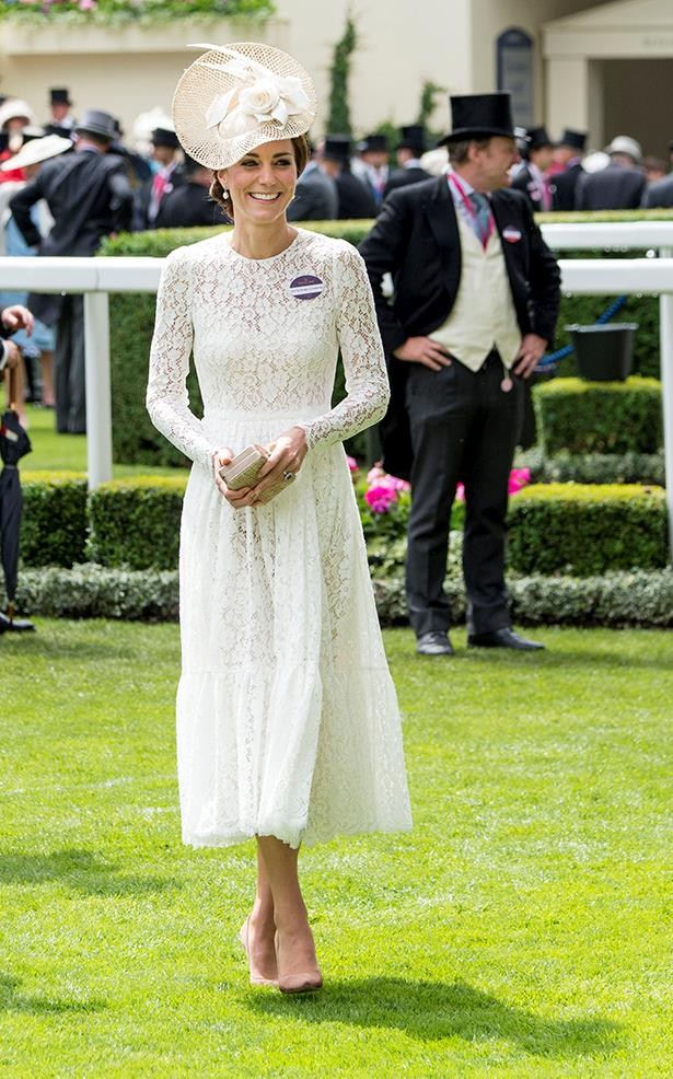 Kate nailed her very first Royal Ascot appearance in a white lace dress with a white hat and nude shoes (also, peep her unnecessary nametag).