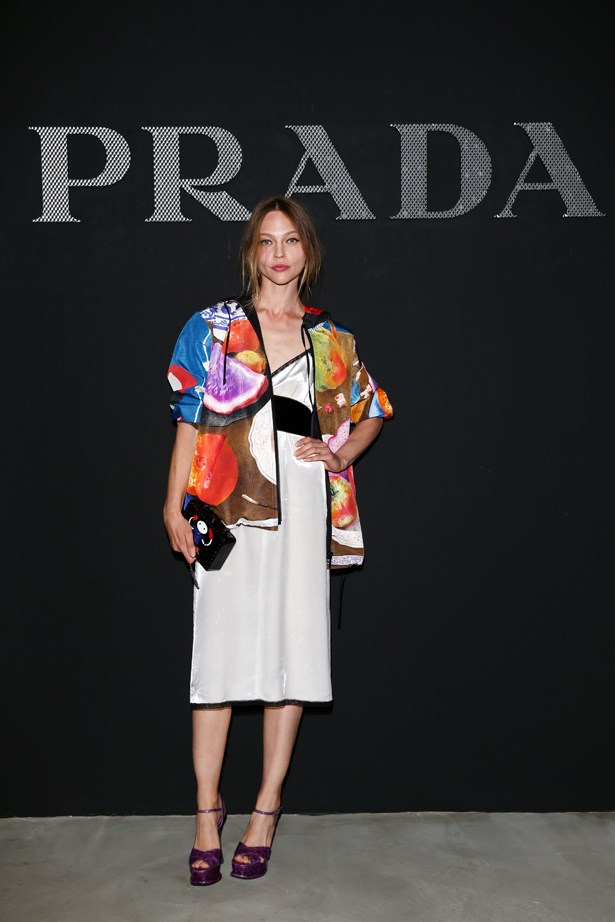 Sasha Pivovarova at Prada.