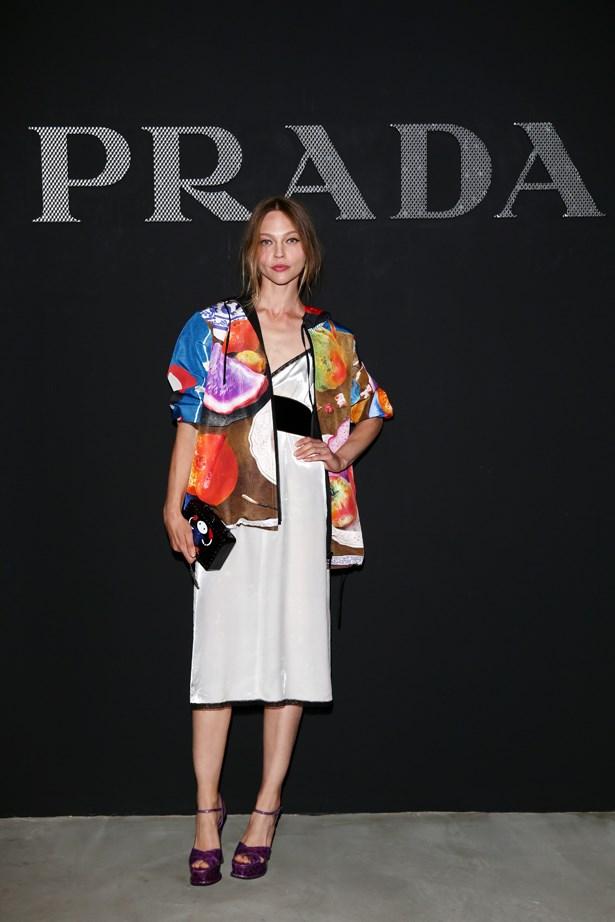 Sasha Pivovarova at Prada.