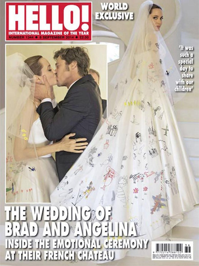 Angelina Jolie's veil for her long-awaited wedding day was adorned with drawing by her children.