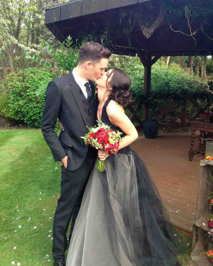 Shanae Grimes also went with a black dress. Hers was full-skirted tulle gown by Vera Wang.