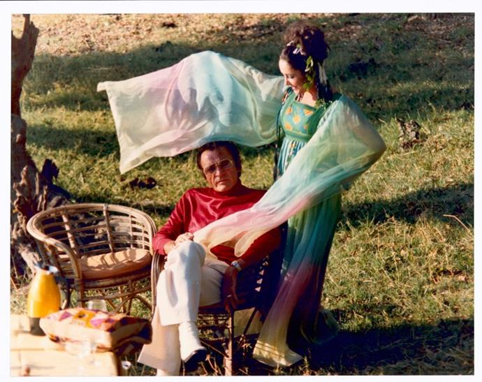 Elizabeth Taylor wore this floaty coloured dress for her second wedding to husband Richard Burton.