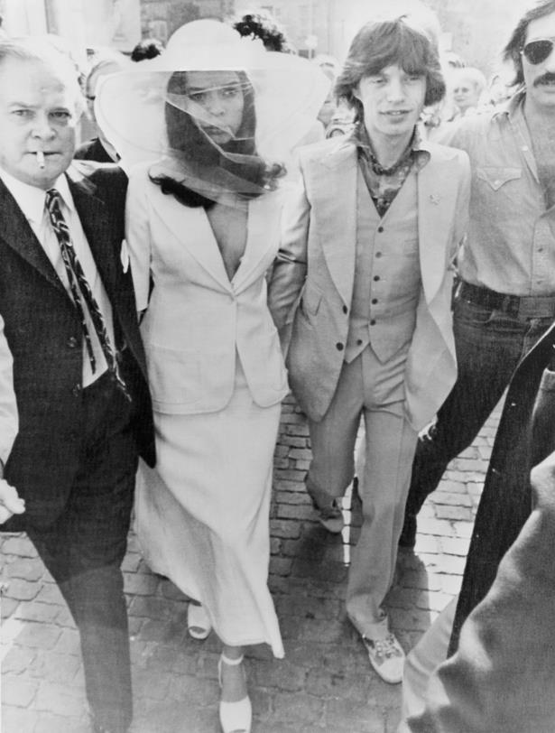 Bianca Jagger wore this daring skirt-suit for her wedding to Mick Jagger.