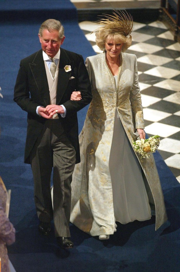 Camilla Parker-Bowles chose this pale blue dress and coat combo for her wedding to Prince Charles.