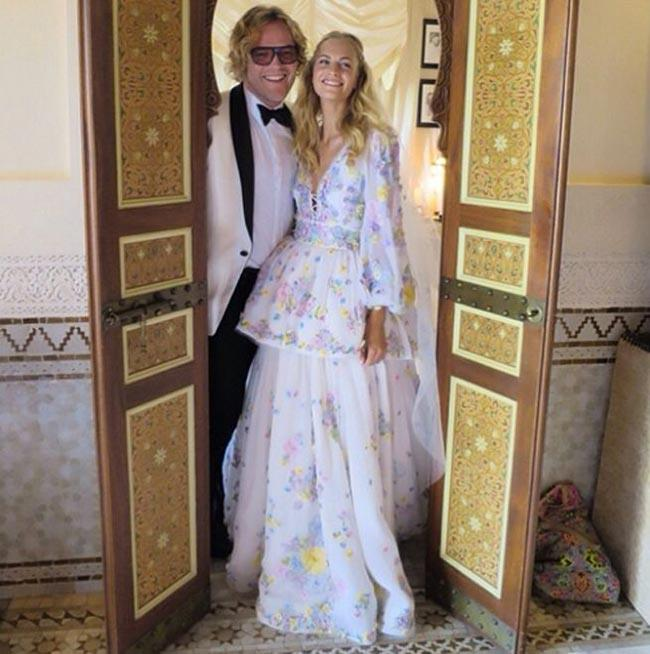 Poppy Delevingne had more than one wedding dress. Her second, this embroidered peplum dress was designed by Peter Dundas.