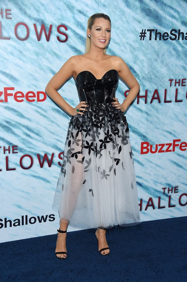Blake's very first premiere dress for The Shallows certainly didn't disappoint. She wore this half-dominatrix, half-sheer ballerina dress with black strappy heels.