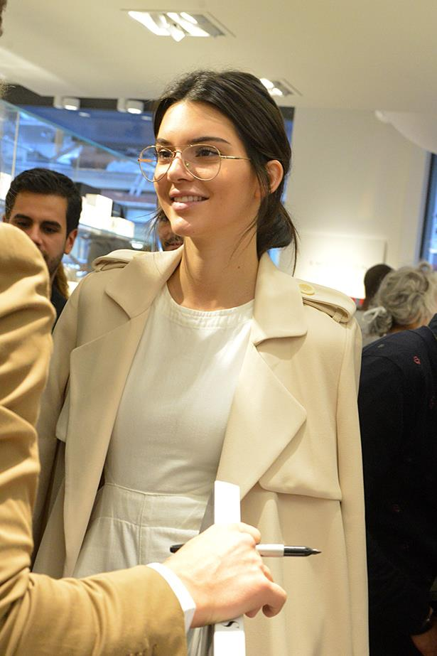 "Clearly in favour of the retro look, Kendall is into these clear aviators from <a href=""http://www.garrettleight.com/eyeglasses/palms/?130=222"">Garrett Leight</a> (the style is 'Palms')."