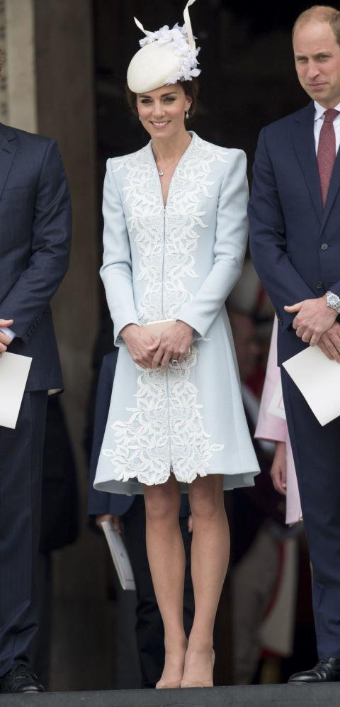 "<p> SHOWING HER KNEES<p> <p> Even with all of these rules decreed by the Queen, Kate still manages a rebellion every once in a while. Just get a load of those knee caps <a href=""http://www.goodhousekeeping.com/life/entertainment/news/a38928/kate-middleton-queens-birthday/"">she showed off</a> at the Queen's 90th birthday celebration!"