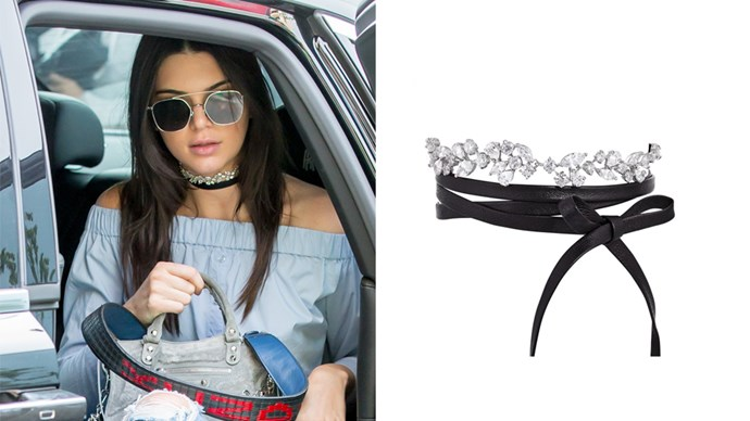"<a href=""http://fallonjewelry.com/product/monarch-florette-choker/"">Fallon 'Monarch Florette' Choker</a>, $425."
