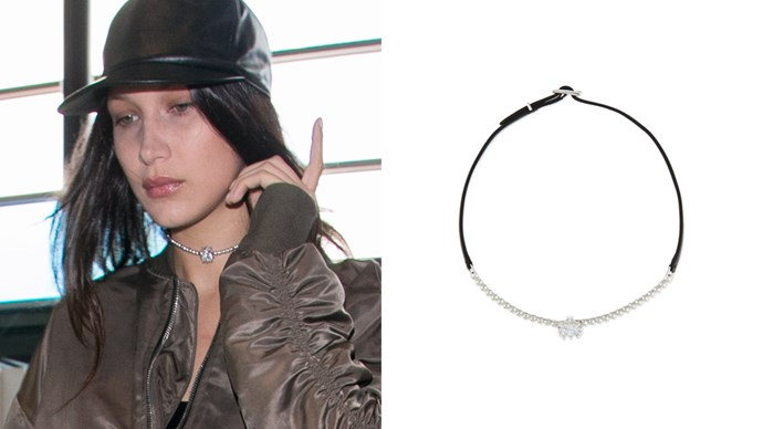 "<a href=""http://www.neimanmarcus.com/en-au/Eddie-Borgo-Crystal-Leather-Choker-Necklace-Silvertone-Black/prod187760178/p.prod?icid=&searchType=MAIN&rte=%2Fsearch.jsp%3Ffrom%3DbrSearch%26request_type%3Dsearch%26search_type%3Dkeyword%26q%3Deddie%20borgo&eItemId=prod187760178&cmCat=search&tc=120&currentItemCount=20&q=eddie%20borgo&searchURL=/search.jsp%3Ffrom%3DbrSearch%26start%3D0%26rows%3D30%26q%3Deddie%20borgo%26l%3Deddie%20borgo%26request_type%3Dsearch%26search_type%3Dkeyword"">Eddie Borgo 'Crystal & Leather' choker</a>."