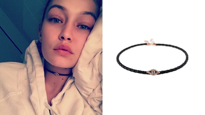 "<a href=""http://jacquieaiche.com/products/blue-diamond-eye-choker"">Jacquie Aiche 'Blue Diamond Eye' choker</a>, $1,825."