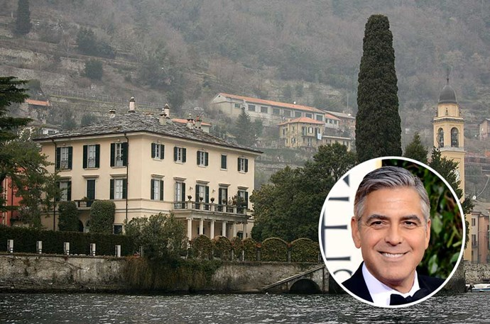 </p><p>George Clooney</b></p><p> Location: Laglio, Italy</p><p> Villa Oleandra, situated on Lake Como's south-western shores, in Laglio, Italy, is the renowned vacation sport of George Clooney and his wife Amal. The estate, which overlooks beautiful Lake Como, is said to be the inspiration of <em>Oceans 12</em>. Clooney originally paid $13.5 million for the property, but it was rumoured that he once tried selling the property for ten times what he paid for it, at a whopping $135 million.