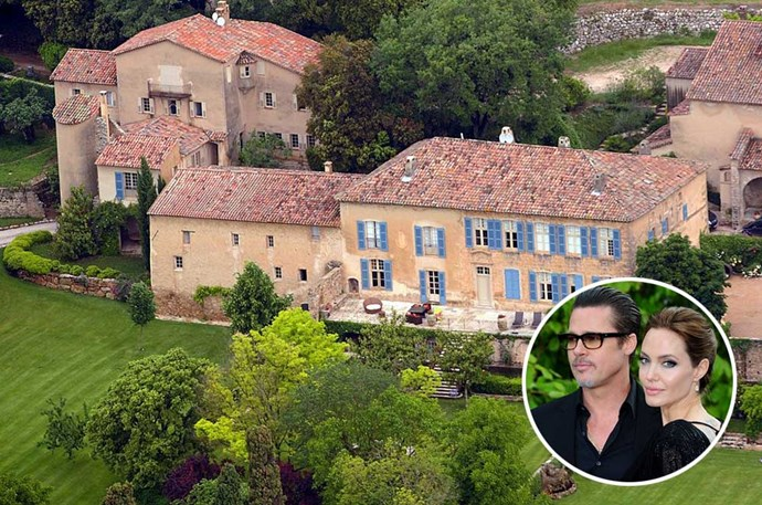 </P><P><B>Angelina Jolie and Brad Pitt</B></P><P> Location: Le Val, southeastern France</p><p> Although Brangelina purchased the $94 million Chateau Miraval in 2008, some of the buildings on the estate are believed to date back to the 1600s. The 880-acre property is complete with its own vineyard, olive groves, forests, and a moat. In true Mr. and Mrs. Smith fashion, this superstar couple enjoys plenty of privacy in the chateau, thanks to the forests surrounding the property.