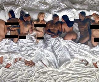 A still from Kanye West's 'Famous' music video, featuring Taylor Swift, Donald Trump, Rihanna, and Bill Cosby.