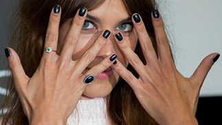 Alexa Chung attends a photocall to launch her Alexa Manicure collection with Nails Inc at Debenhams