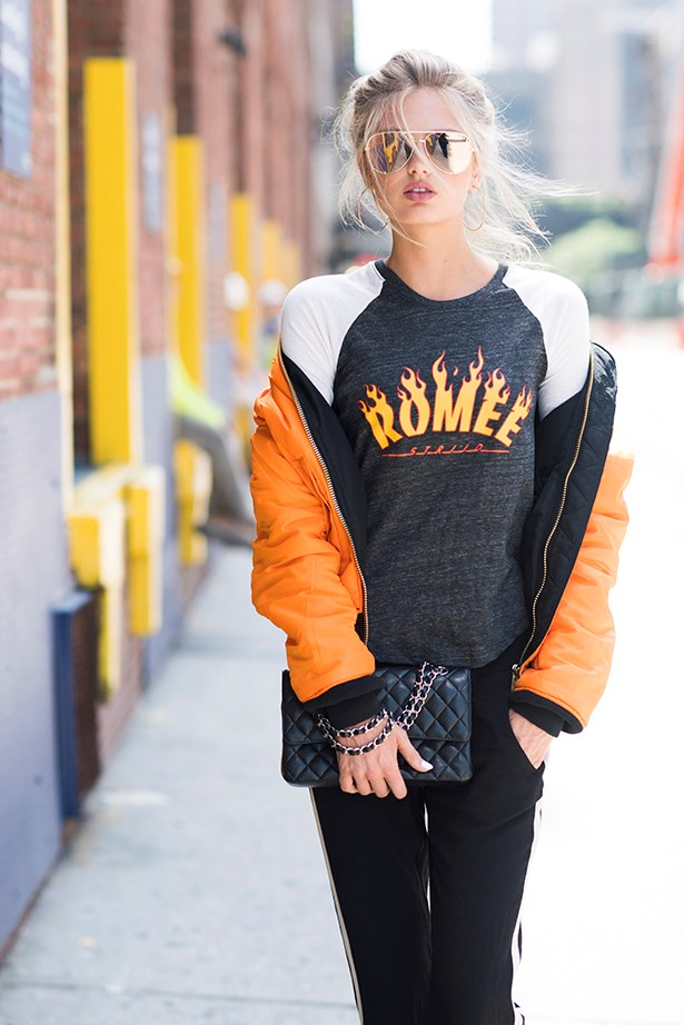 VS model Romee Strijd is partial to a little punk rock flame lettering - and so are we.