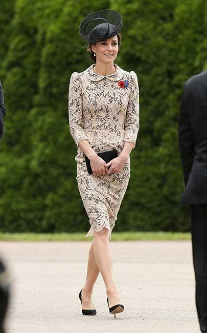 Kate's most recent outfit is causing a stir — but not for the usual reasons. While the simple act of wearing a dress can see it sell out in record time, no-one can actually figure out where this one's from. Eagle-eyed style-watchers have determined the nude-coloured lace used to make the peplum frock comes from French textile house Sophie Hallette (the same designer that created the lace for her Alexander McQueen wedding dress), but that's about all they know — and it's sending eager fans mad.