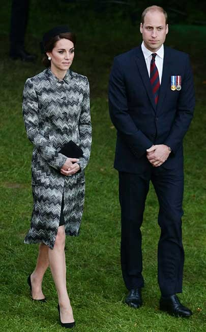 The Duchess of Cambridge also attended an evening vigil at The Commonwealth War Graves Commission Thiepval Memorial for the Commemoration of the Centenary of The Battle of the Somme, wearing a monotone Missoni coat.