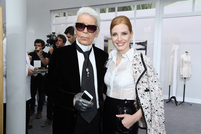 Karl Lagerfeld with Jessica Chastain at Chanel