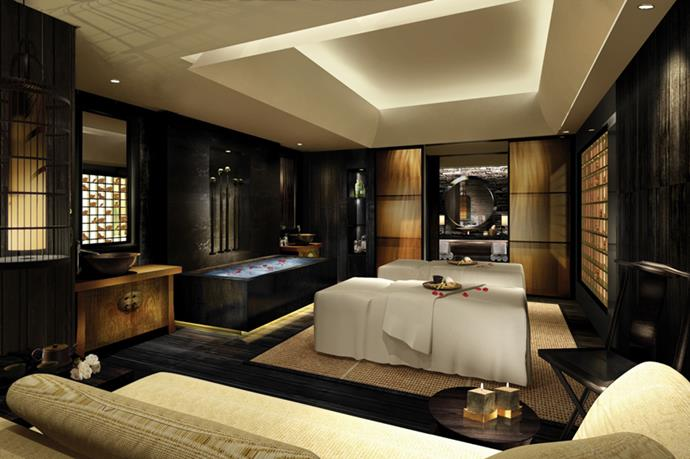 <p><strong>Where:</strong> Qin the Spa at The Four Seasons Hotel, Shanghai, China<p/> <p><strong>Top Treatment:</strong> Feel the hustle and bustle of busy Shanghai melt away as you enter the Zen red-and-black interior of Qin the Spa. The polished décor recalls ancient Chinese dynasties but don't be fooled – this spa is as modern as they come, with a relaxation room that features individual nap pods with built-in TV screens for guests to enjoy. Each treatment is inspired by Chinese medicine, with our top pick being the Journey of Lotus Ritual (120 minutes, from $400). It begins with a deep cleanse of the skin followed by the Mystic Lotus Massage with oils to relax the mind and leave tired skin soft and rejuvenated.</p>
