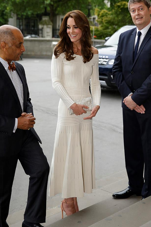 Kate wore this chic white off-the-shoulder dress by Barbara Casasola to the Natural History Museum in London.