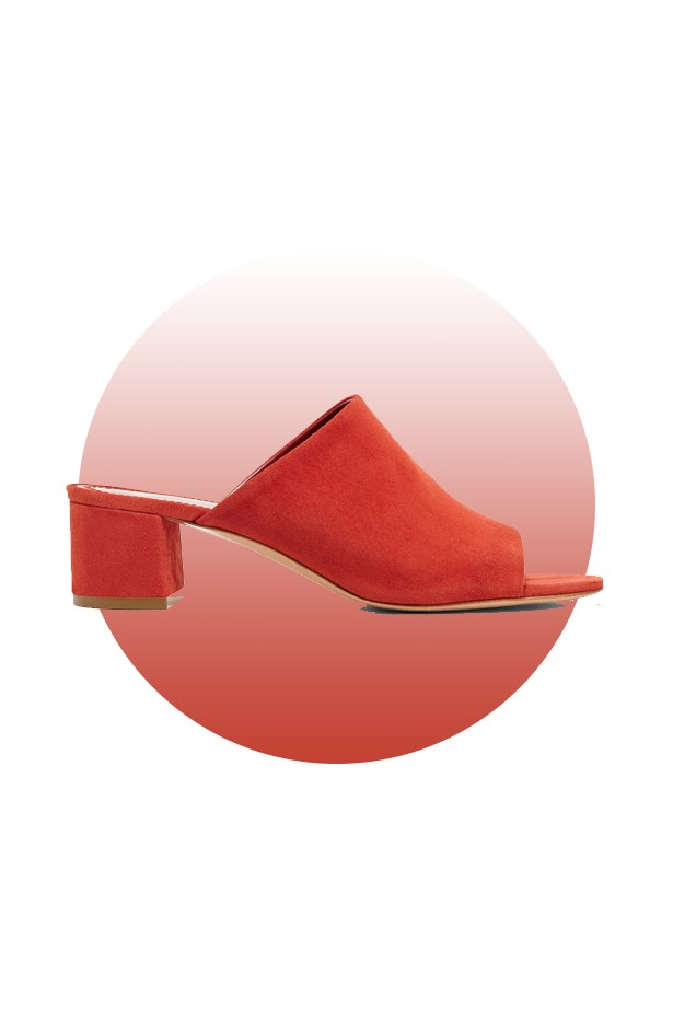 "Shoes, $695, <a href=""https://www.net-a-porter.com/au/en/product/678213/mansur_gavriel/suede-mules"">Mansur Gavriel at net-a-porter.com</a>."