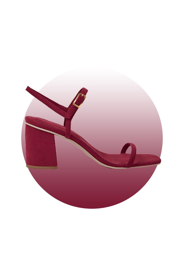 "Shoes, $399, <a href=""https://www.thereformation.com/products/rafa-simple-sandal-ruby"">Rafa at thereformation.com</a>."