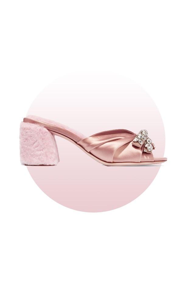 "Shoes, $1,380, <a href=""https://www.net-a-porter.com/au/en/product/710486/miu_miu/crystal-embellished-satin-and-shearling-mules"">Miu Miu at net-a-porter.com</a>."