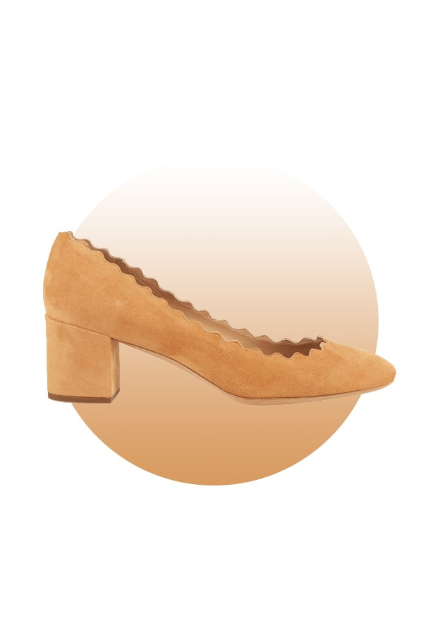 "Shoes, $675, <a href=""http://www.matchesfashion.com/au/products/Chlo%C3%A9-Lauren-scallop-edged-block-heel-suede-pumps-1035261"">Chloé at matchesfashion.com</a>."
