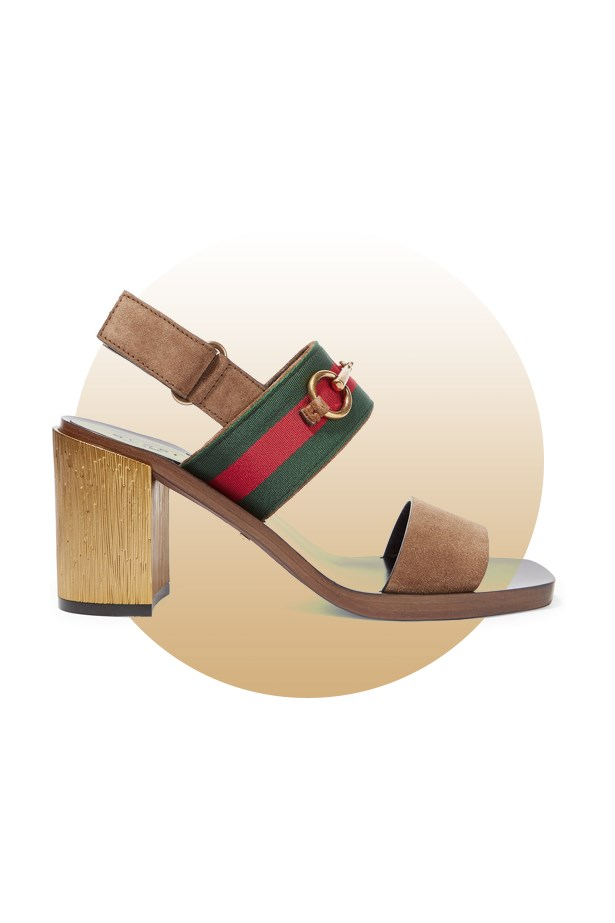 "Shoes, $1,005, <a href=""https://www.net-a-porter.com/au/en/product/643335/gucci/horsebit-detailed-suede-sandals"">Gucci at net-a-porter.com</a>."