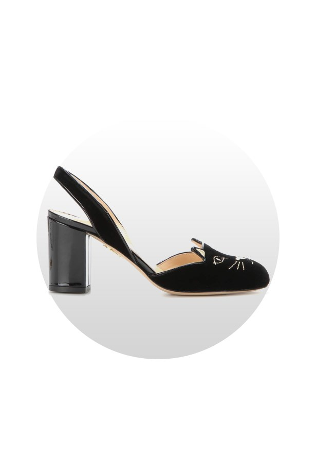 "Shoes, $834, <a href=""http://www.mytheresa.com/en-de/kitty-velvet-slingback-pumps-599076.html?catref=category"">Charlotte Olympia at mytheresa.com</a>."