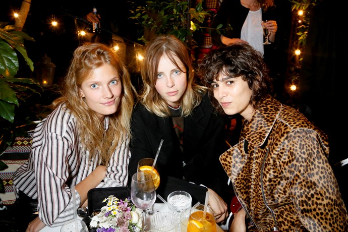Constance Jablonski, Edie Campbell and Mica Arganaraz at the Isabel Marant and mytheresa.com Paris Fashion Week party