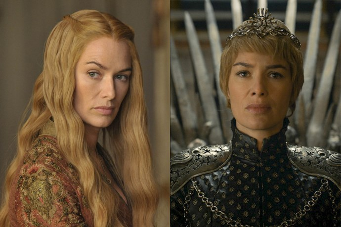 Cersei Lannister in season one, and in season six.