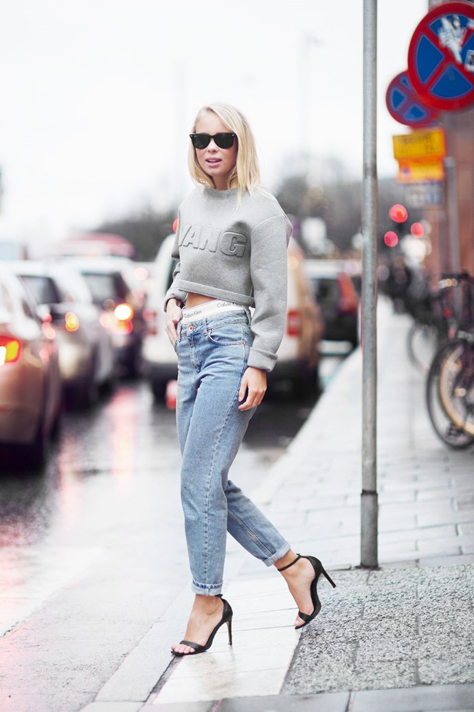 "Street Style star <a href=""http://victoriatornegren.se/"">Victoria Törnegren</a> chose Calvin Kleins and a Alexander Wang sweater."