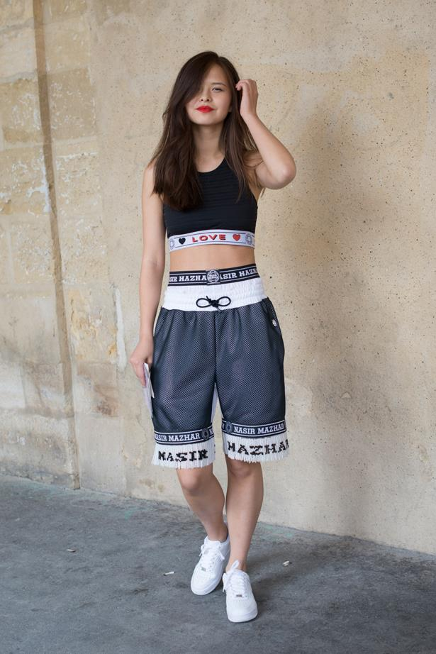 Fashion buyer and stylist Margarita Zubatov added another menswear trend, basketball shorts, to her look.