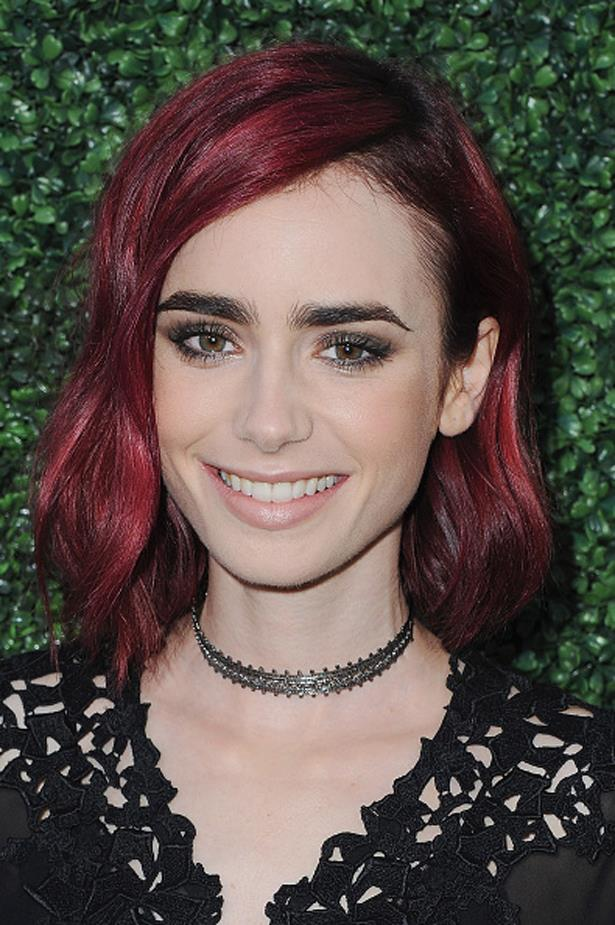 Lily's new red hairdo is almost as bold as her brows at the Sony Pictures Social Soiree. Almost.